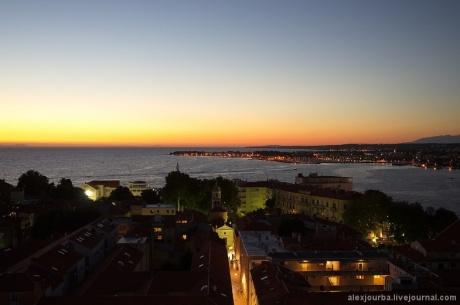 Город Задар (Zadar, Zara, Iadera) на закате